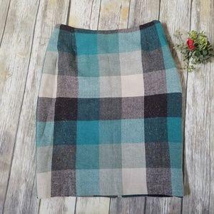 Magaschoni Plaid Herringbone & Tweed Pencil Skirt
